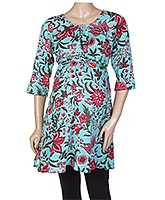 W Quarter Sleeves Floral Printed Kurta Style Tunic Top