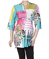 W Quarter Sleeves Abstract Print Top