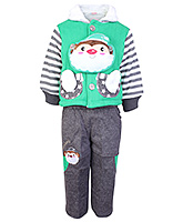 Babyhug Full Sleeves Hooded Jacket with Leggings - Santa Applique