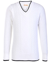 Babyhug Full Sleeves V Neck Sweater - Cable Stitch