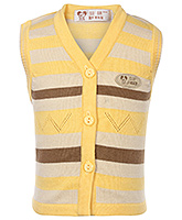 Buy Babyhug Sleeveless Sweater Yellow - Stripes Design