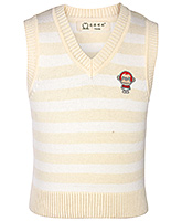 Buy Babyhug Sleeveless Stripped Sweater - Monkey Design