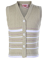 Buy Babyhug Sleeveless Front Open Sweater - Cable Stitch