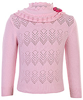 Babyhug Full Sleeves High Neck Sweater - Rosette