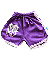 Buy Wow Mom Purple Shorts - White Piping