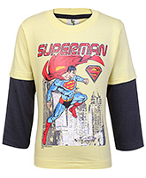 Cucumber Superman Print Cotton T Shirt - Doctor Sleeves