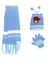 Babyhug Bear Face Applique Woolen Winter Set - Pack Of 3