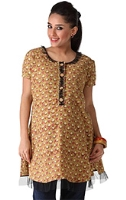 Morph Short Sleeves Maternity Mustard Cotton Kurta