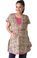 Morph Short Sleeves Maternity Beige Printed Kurta