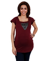 Buy Morph Maroon layered Nursing Short Sleeves Top