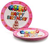Buy Karmallys Printed Paper Plates Happy Birthday Cake And Balloon Print - 22 cm