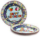 Buy Karmallys Printed Paper Plates Happy Birthday Balloons Print - 22 cm