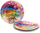 Buy Karmallys Printed Paper Plates Happy Birthday Balloons And Gift Box Print - 22 cm