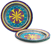 Karmallys Printed Paper Plates Flower And Circle Print - 24 cm