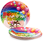 Buy Karmallys Printed Paper Plates Happy Birthday Gift And Balloons Print - 19 cm