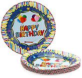 Buy Karmallys Printed Paper Plates Happy Birthday Balloons Print - 19 cm