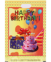 Karmallys Printed Plastic Bag With Happy Birthday Cake And Teddy Print