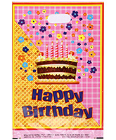 Karmallys Printed Plastic Bag With Happy Birthday Cake And Flower Print