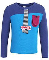 Babyhug Full Sleeves Dual Colored T Shirt - Gusset Pocket