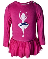 Nauti Nati Full Sleeves Pink Frock - Ballet Dancer Print