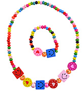 Angel Glitter Multicolor Smiley Time In Paradise Wooden Jewellery Set - Set Of 2