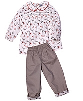 ShopperTree Full Sleeves Peter Pan Collar Top And Trouser Set