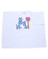 Buy Tiny Care White Towel - Giraffe Print