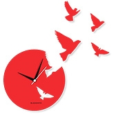 Blacksmith Flying Bird Clock - Red