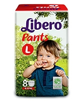 Buy Libero Pant Style Baby Diaper Large - 8 Pieces