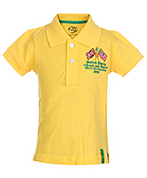 Palm Tree Yellow Half Sleeves Polo T Shirt