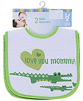 Honey Bunny Love You Mommy Green Bibs - Set Of 2