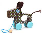 Honey Bunny Wood Toy With Microfleece Blanket - Dark Brown