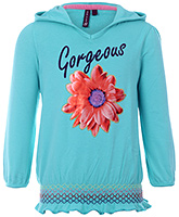 Buy Quarter Spoon Full Sleeves Hooded Sweatshirt - Print And Embroidery