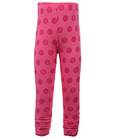 Quarter Spoon Red Full Length Ruched Bottom Leggings - Polka Dots Print