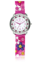 Jacques Farel Kids Swarovski Crystals 3D Strap Wristwatch Pink