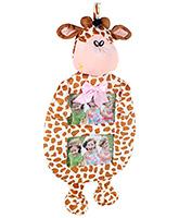 Fab N Funky Standing Giraffe Shape Dual Photo Frame - Cream