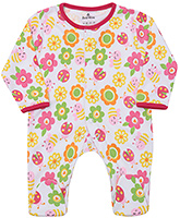 Child World Full Sleeves Multi Colour Flower Print Footed Romper