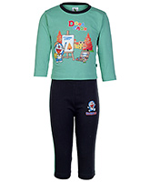 Cucumber Full Sleeves T Shirt And Legging Doraemon Print Green