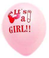 Party Anthem Pink It Is A Girl Print Latex Balloons - Pack Of 12