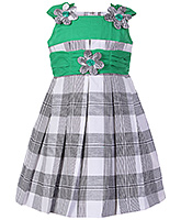 Babyhug Green Check Design Sleeveless Frock - Flower Motif