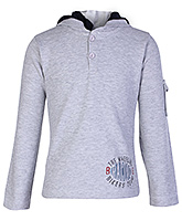 Saps Grey Full Sleeves Hooded Sweatshirt - Sleeves Pocket