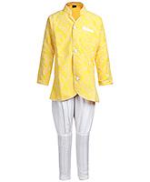 Babyhug Yellow Leafs Print Full Sleeves Kurta And Chudidaar Pajama Set - Indo Western Pattern