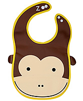 Fab N Funky Baby Bib Monkey Face Design Brown - 25 x 22.5 cm