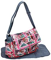 Fab N Funky Flap Cover Diaper Bag with Diaper Mat - Grey
