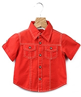Buy Beebay Red Half Sleeves Plain Shirt - Contrast Buttons