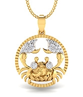 Mani Jewel Zodiac Sign Collection 14Kt Gold Pendant - Cancer The Crab