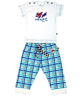 Buzzy Short Sleeves T Shirt And Check Print Legging With Fastening