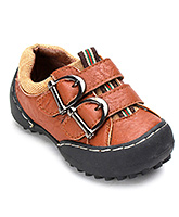 Cute Walk Brown Faux Leather Shoes - Dual Buckle Strap