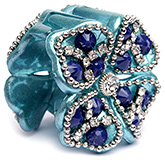 Fab N Funky Stones Studded Butterfly Hair Clip - Blue