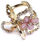 Fab N Funky Flower Applique And Stones Butterfly Hair Clip - Golden